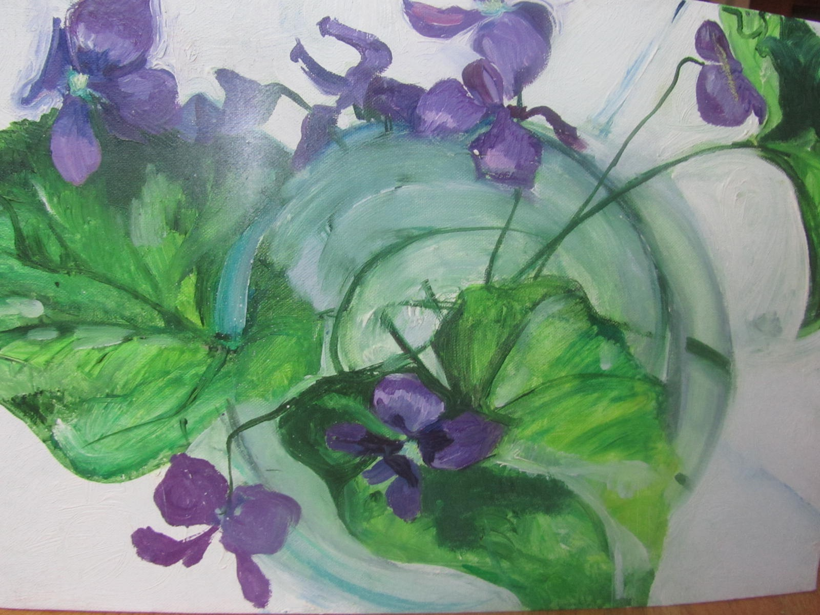 031 'Violets in a Vase'  Oil on Canvas